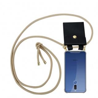 Cadorabo Handy Kette für Huawei MATE 10 LITE in GLÄNZEND BRAUN - Silikon Necklace Umhänge Hülle mit Gold Ringen, Kordel Band Schnur und abnehmbarem Etui ? Schutzhülle