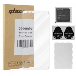 Cadorabo Vollbild Panzer Folie für Samsung Galaxy S9 - Schutzfolie in TRANSPARENT mit WEISS - Gehärtetes (Tempered) Display-Schutzglas in 9H Härte mit 3D Touch Kompatibilität