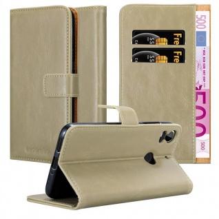 Cadorabo Hülle für HTC Desire 10 PRO in CAPPUCCINO BRAUN - Handyhülle mit Magnetverschluss, Standfunktion und Kartenfach - Case Cover Schutzhülle Etui Tasche Book Klapp Style