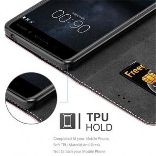 Cadorabo Hülle für Nokia 6 2017 in GOLD SCHWARZ ? Handyhülle mit Magnetverschluss, Standfunktion und Kartenfach ? Case Cover Schutzhülle Etui Tasche Book Klapp Style - Vorschau 2