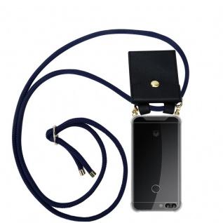 Cadorabo Handy Kette für Huawei P SMART 2018 / Enjoy 7S in TIEF BLAU Silikon Necklace Umhänge Hülle mit Gold Ringen, Kordel Band Schnur und abnehmbarem Etui Schutzhülle