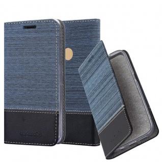 Cadorabo Hülle für WIKO VIEW MAX in DUNKEL BLAU SCHWARZ - Handyhülle mit Magnetverschluss, Standfunktion und Kartenfach - Case Cover Schutzhülle Etui Tasche Book Klapp Style