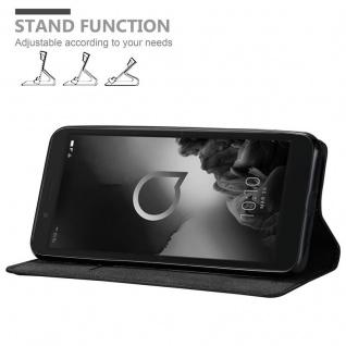 Cadorabo Hülle für Alcatel 1C 2019 in NACHT SCHWARZ - Handyhülle mit Magnetverschluss, Standfunktion und Kartenfach - Case Cover Schutzhülle Etui Tasche Book Klapp Style - Vorschau 2