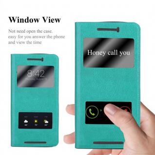Cadorabo Hülle für HTC One M9 in MINT TÜRKIS ? Handyhülle mit Magnetverschluss, Standfunktion und 2 Sichtfenstern ? Case Cover Schutzhülle Etui Tasche Book Klapp Style - Vorschau 2
