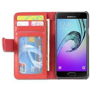 Cadorabo Hülle für Samsung Galaxy A3 2016 in INFERNO ROT ? Handyhülle mit Magnetverschluss und 3 Kartenfächern ? Case Cover Schutzhülle Etui Tasche Book Klapp Style - Vorschau 4