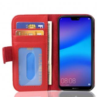 Cadorabo Hülle für Huawei P20 LITE in INFERNO ROT Handyhülle mit Magnetverschluss und 3 Kartenfächern Case Cover Schutzhülle Etui Tasche Book Klapp Style