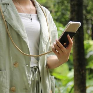Cadorabo Handy Kette für OnePlus 6T in GLÄNZEND BRAUN Silikon Necklace Umhänge Hülle mit Gold Ringen, Kordel Band Schnur und abnehmbarem Etui Schutzhülle - Vorschau 4