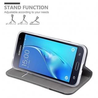 Cadorabo Hülle für Samsung Galaxy J3 2016 in GRAU SCHWARZ - Handyhülle mit Magnetverschluss, Standfunktion und Kartenfach - Case Cover Schutzhülle Etui Tasche Book Klapp Style - Vorschau 4