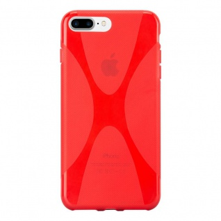 Cadorabo Hülle für Apple iPhone 8 PLUS / iPhone 7 PLUS / iPhone 7S PLUS in INFERNO ROT Handyhülle aus flexiblem TPU Silikon Silikonhülle Schutzhülle Ultra Slim Soft Back Cover Case Bumper