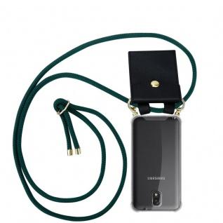 Cadorabo Handy Kette für Samsung Galaxy NOTE 3 in ARMEE GRÜN - Silikon Necklace Umhänge Hülle mit Gold Ringen, Kordel Band Schnur und abnehmbarem Etui ? Schutzhülle