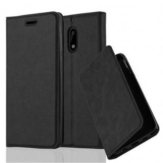 Cadorabo Hülle für Nokia 6 2017 in NACHT SCHWARZ - Handyhülle mit Magnetverschluss, Standfunktion und Kartenfach - Case Cover Schutzhülle Etui Tasche Book Klapp Style