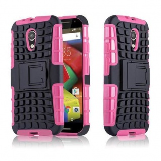 Cadorabo Hülle für Motorola G2 - Hülle in SCHWARZ PINK ? Handyhülle mit Standfunktion - Hard Case TPU Silikon Schutzhülle für Hybrid Cover im Outdoor Heavy Duty Design
