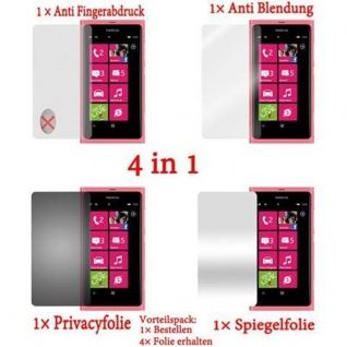 Cadorabo Displayschutzfolien für Nokia Lumia 800 - Schutzfolien in HIGH CLEAR ? 4 Folien (1x Privacy - 1x Spiegel - 1x Matt - 1x Anti-Fingerabdruck)