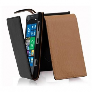Cadorabo Hülle für Nokia Lumia 1020 in OXID SCHWARZ Handyhülle im Flip Design aus strukturiertem Kunstleder Case Cover Schutzhülle Etui Tasche Book Klapp Style