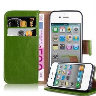 Cadorabo Hülle für Apple iPhone 4 / iPhone 4S in GRAS GRÜN ? Handyhülle mit Magnetverschluss, Standfunktion und Kartenfach ? Case Cover Schutzhülle Etui Tasche Book Klapp Style