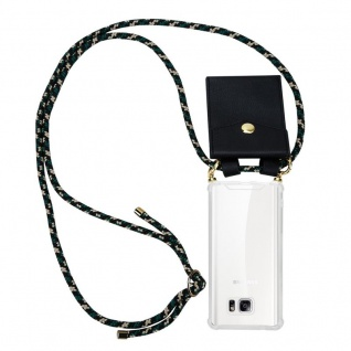 Cadorabo Handy Kette für Samsung Galaxy NOTE 5 in CAMOUFLAGE Silikon Necklace Umhänge Hülle mit Gold Ringen, Kordel Band Schnur und abnehmbarem Etui Schutzhülle