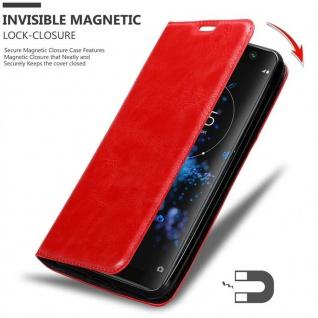 Cadorabo Hülle für Sony Xperia XA2 PLUS in APFEL ROT Handyhülle mit Magnetverschluss, Standfunktion und Kartenfach Case Cover Schutzhülle Etui Tasche Book Klapp Style - Vorschau 3