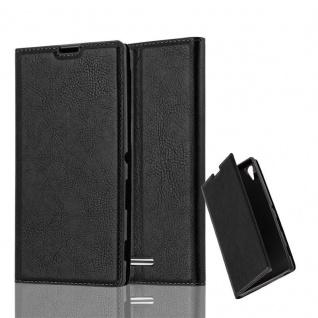 Cadorabo Hülle für Sony Xperia T3 in NACHT SCHWARZ - Handyhülle mit Magnetverschluss, Standfunktion und Kartenfach - Case Cover Schutzhülle Etui Tasche Book Klapp Style