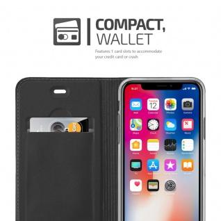 Cadorabo Hülle für Apple iPhone X / XS in CLASSY SCHWARZ - Handyhülle mit Magnetverschluss, Standfunktion und Kartenfach - Case Cover Schutzhülle Etui Tasche Book Klapp Style - Vorschau 3