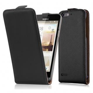 Cadorabo Hülle für Huawei P6 MINI - Hülle in KAVIAR SCHWARZ ? Handyhülle aus glattem Kunstleder im Flip Design - Case Cover Schutzhülle Etui Tasche