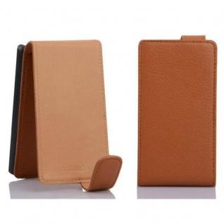 Cadorabo Hülle für Sony Xperia E1 in COGNAC BRAUN - Handyhülle im Flip Design aus strukturiertem Kunstleder - Case Cover Schutzhülle Etui Tasche Book Klapp Style - Vorschau 2