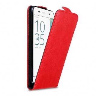 Cadorabo Hülle für Sony Xperia E5 in APFEL ROT - Handyhülle im Flip Design mit Magnetverschluss - Case Cover Schutzhülle Etui Tasche Book Klapp Style