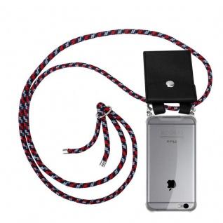 Cadorabo Handy Kette für Apple iPhone 6 PLUS / iPhone 6S PLUS in ROT BLAU WEISS Silikon Necklace Umhänge Hülle mit Silber Ringen, Kordel Band Schnur und abnehmbarem Etui Schutzhülle