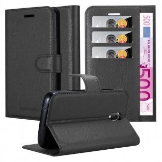 Cadorabo Hülle für WIKO SUNNY 3 MINI in PHANTOM SCHWARZ - Handyhülle mit Magnetverschluss, Standfunktion und Kartenfach - Case Cover Schutzhülle Etui Tasche Book Klapp Style