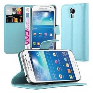 Cadorabo Hülle für Samsung Galaxy S4 MINI in PASTEL BLAU - Handyhülle mit Magnetverschluss, Standfunktion und Kartenfach - Case Cover Schutzhülle Etui Tasche Book Klapp Style