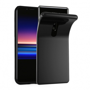 Cadorabo Hülle für Sony Xperia 1 in SCHWARZ Handyhülle aus flexiblem TPU Silikon Silikonhülle Schutzhülle Ultra Slim Soft Back Cover Case Bumper