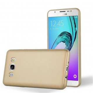 Cadorabo Hülle für Samsung Galaxy J7 2016 in METALLIC GOLD - Handyhülle aus flexiblem TPU Silikon - Silikonhülle Schutzhülle Ultra Slim Soft Back Cover Case Bumper