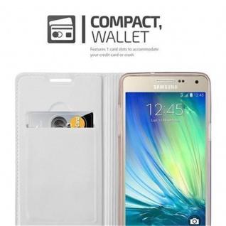 Cadorabo Hülle für Samsung Galaxy A3 2015 in CLASSY SILBER - Handyhülle mit Magnetverschluss, Standfunktion und Kartenfach - Case Cover Schutzhülle Etui Tasche Book Klapp Style - Vorschau 3