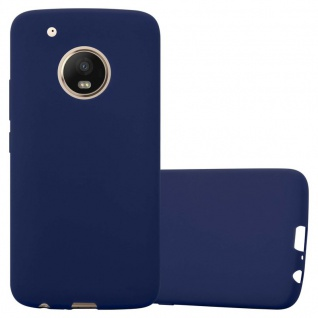 Cadorabo Hülle für Motorola MOTO G5 PLUS in CANDY DUNKEL BLAU - Handyhülle aus flexiblem TPU Silikon - Silikonhülle Schutzhülle Ultra Slim Soft Back Cover Case Bumper