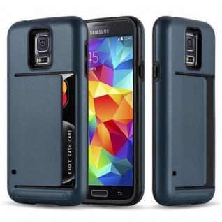 Cadorabo Hülle für Samsung Galaxy S5 / S5 NEO - Hülle in ARMOR DUNKEL BLAU - Handyhülle mit Kartenfach - Hard Case TPU Silikon Schutzhülle für Hybrid Cover im Outdoor Heavy Duty Design