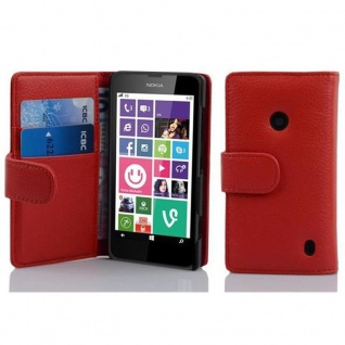 Cadorabo Hülle für Nokia Lumia 630 / 635 in INFERNO ROT Handyhülle aus strukturiertem Kunstleder mit Standfunktion und Kartenfach Case Cover Schutzhülle Etui Tasche Book Klapp Style