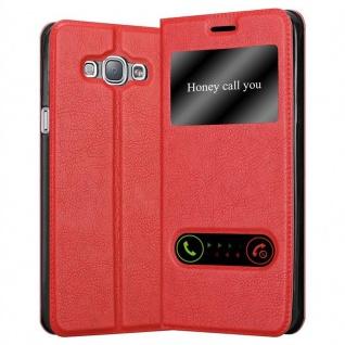 Cadorabo Hülle für Samsung Galaxy A8 2015 in SAFRAN ROT - Handyhülle mit Magnetverschluss, Standfunktion und 2 Sichtfenstern - Case Cover Schutzhülle Etui Tasche Book Klapp Style