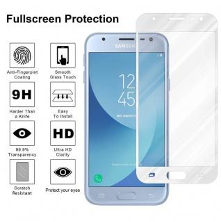 Cadorabo Vollbild Panzer Folie für Samsung Galaxy J3 PRO - Schutzfolie in TRANSPARENT mit WEISS - Gehärtetes (Tempered) Display-Schutzglas in 9H Härte mit 3D Touch Kompatibilität - Vorschau 4