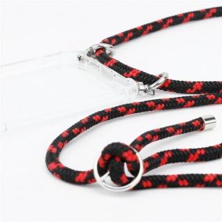Cadorabo Handy Kette für Apple iPhone 8 PLUS / 7 PLUS / 7S PLUS in SCHWARZ ROT - Silikon Necklace Umhänge Hülle mit Silber Ringen, Kordel Band Schnur und abnehmbarem Etui - Schutzhülle - Vorschau 2