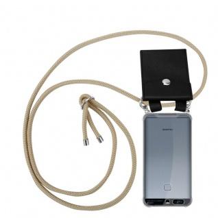 Cadorabo Handy Kette für Huawei P9 in GLÄNZEND BRAUN - Silikon Necklace Umhänge Hülle mit Silber Ringen, Kordel Band Schnur und abnehmbarem Etui - Schutzhülle