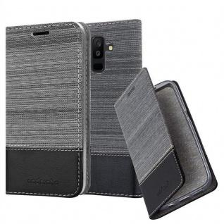 Cadorabo Hülle für Samsung Galaxy A6 PLUS 2018 in GRAU SCHWARZ - Handyhülle mit Magnetverschluss, Standfunktion und Kartenfach - Case Cover Schutzhülle Etui Tasche Book Klapp Style