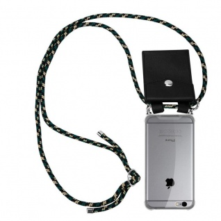 Cadorabo Handy Kette für Apple iPhone 6 PLUS / iPhone 6S PLUS in CAMOUFLAGE Silikon Necklace Umhänge Hülle mit Silber Ringen, Kordel Band Schnur und abnehmbarem Etui Schutzhülle