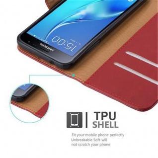 Cadorabo Hülle für Samsung Galaxy J3 2016 in WEIN ROT ? Handyhülle mit Magnetverschluss, Standfunktion und Kartenfach ? Case Cover Schutzhülle Etui Tasche Book Klapp Style - Vorschau 3