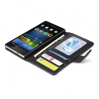 Cadorabo Hülle für Huawei P8 LITE 2015 in OXID SCHWARZ - Handyhülle mit Magnetverschluss und 3 Kartenfächern - Case Cover Schutzhülle Etui Tasche Book Klapp Style - Vorschau 2