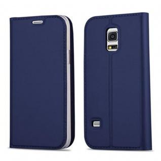 Cadorabo Hülle für Samsung Galaxy S5 MINI / S5 MINI DUOS in CLASSY DUNKEL BLAU Handyhülle mit Magnetverschluss, Standfunktion und Kartenfach Case Cover Schutzhülle Etui Tasche Book Klapp Style