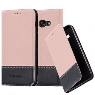 Cadorabo Hülle für Samsung Galaxy A3 2017 in GOLD SCHWARZ - Handyhülle mit Magnetverschluss, Standfunktion und Kartenfach - Case Cover Schutzhülle Etui Tasche Book Klapp Style