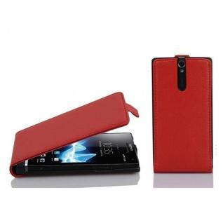 Cadorabo Hülle für Sony Xperia S in INFERNO ROT - Handyhülle im Flip Design aus strukturiertem Kunstleder - Case Cover Schutzhülle Etui Tasche Book Klapp Style