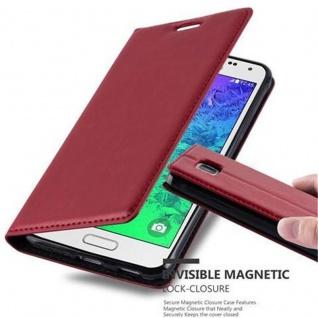 Cadorabo Hülle für Samsung Galaxy ALPHA in APFEL ROT - Handyhülle mit Magnetverschluss, Standfunktion und Kartenfach - Case Cover Schutzhülle Etui Tasche Book Klapp Style