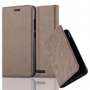 Cadorabo Hülle für WIKO JERRY in KAFFEE BRAUN - Handyhülle mit Magnetverschluss, Standfunktion und Kartenfach - Case Cover Schutzhülle Etui Tasche Book Klapp Style