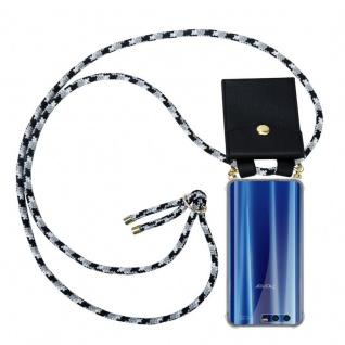 Cadorabo Handy Kette für Honor 9 in SCHWARZ CAMOUFLAGE - Silikon Necklace Umhänge Hülle mit Gold Ringen, Kordel Band Schnur und abnehmbarem Etui ? Schutzhülle