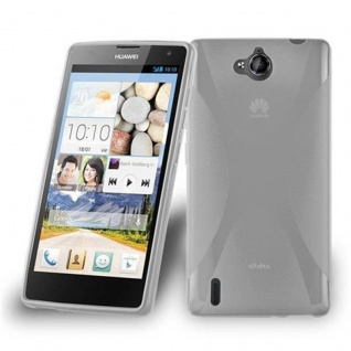 Cadorabo Hülle für Huawei ASCEND G740 in HALB TRANSPARENT ? Handyhülle aus flexiblem TPU Silikon ? Silikonhülle Schutzhülle Ultra Slim Soft Back Cover Case Bumper